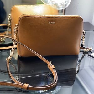 DKNY Light Brown Leather Crossbody Purse